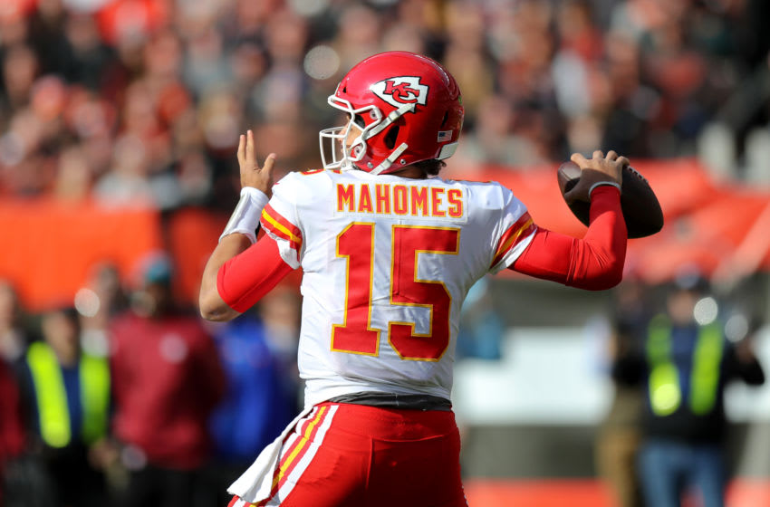 CLEVELAND, OH - NOVEMBER 04: Kansas City Chiefs quarterback Patrick Mahomes (15) throws a pass during the first quarter of the National Football League game between the Kansas City Chiefs and Cleveland Browns on November 4, 2018, at FirstEnergy Stadium in Cleveland, OH. (Photo by Frank Jansky/Icon Sportswire via Getty Images)