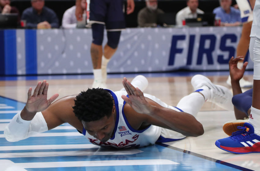 SALT LAKE CITY, UTAH - MARCH 23: David McCormack #33 of the Kansas Jayhawks reacts to a play against the Auburn Tigers during their game in the Second Round of the NCAA Basketball Tournament at Vivint Smart Home Arena on March 23, 2019 in Salt Lake City, Utah. (Photo by Tom Pennington/Getty Images)