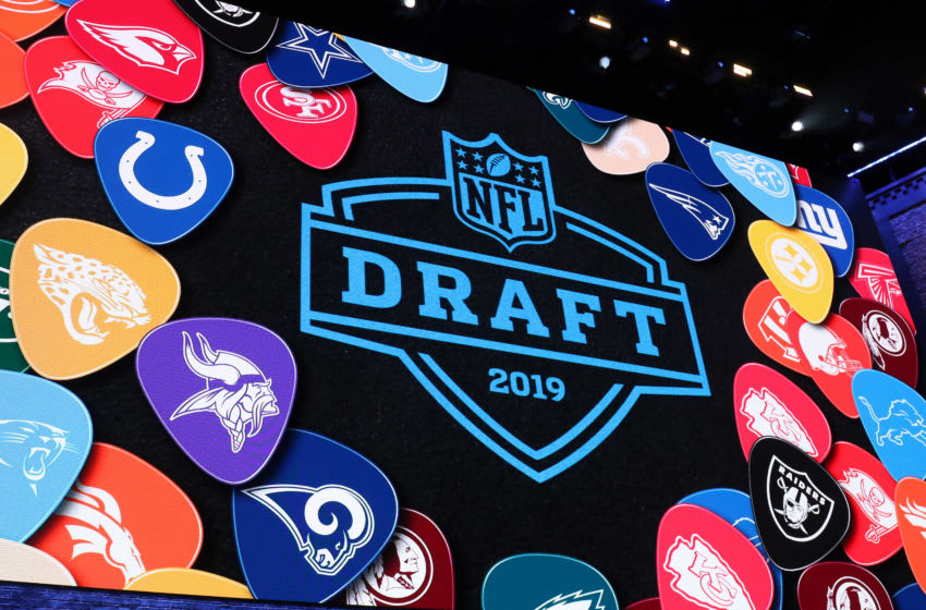 NASHVILLE, TN - APRIL 25: The NFL draft logo is on display during the first round of the 2019 NFL Draft on April 25, 2019, at the Draft Main Stage on Lower Broadway in downtown Nashville, TN. (Photo by Michael Wade/Icon Sportswire via Getty Images)