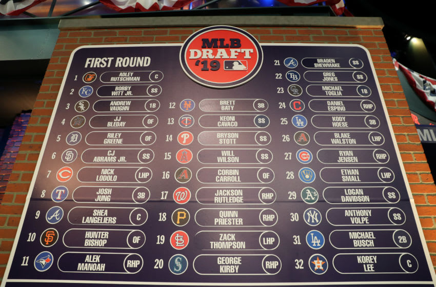 A general view of the completed first round draft board during the 2019 Major League Baseball Draft (Photo by Alex Trautwig/MLB via Getty Images)