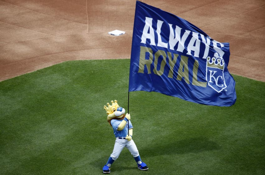 KANSAS CITY, MO - MAY 25: Kansas City Royals mascot is seen prior to game one of a doubleheader against the New York Yankees at Kauffman Stadium on May 25, 2019 in Kansas City, Missouri. The Yankees won 7-3. (Photo by Joe Robbins/Getty Images)