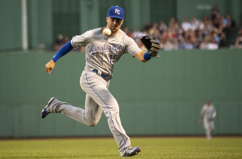 BOSTON, MA - AUGUST 5: Whit Merrifield #15 of the Kansas City Royals fields a ground ball during the third inning of a game against the Boston Red Sox on August 5, 2019 at Fenway Park in Boston, Massachusetts. (Photo by Billie Weiss/Boston Red Sox/Getty Images)