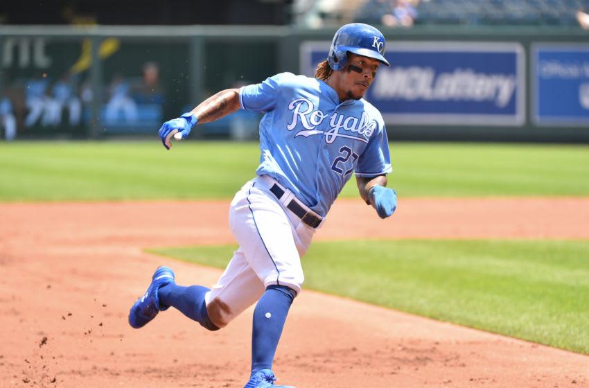 Adalberto Mondesi #27 of the Kansas City Royals (Photo by Ed Zurga/Getty Images)
