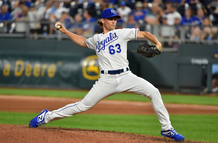 KANSAS CITY, MISSOURI - JULY 29: Josh Staumont #63 of the Kansas City Royals pitches in the ninth inning against the Toronto Blue Jays at Kauffman Stadium on July 29, 2019 in Kansas City, Missouri. (Photo by Ed Zurga/Getty Images)