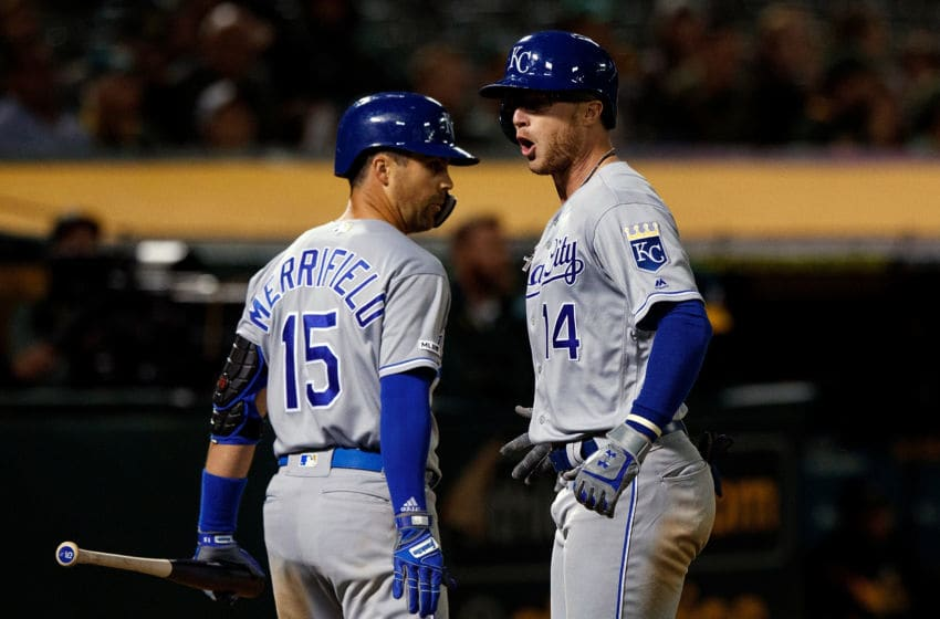 OAKLAND, CA - SEPTEMBER 16: Brett Phillips #14 of the Kansas City Royals is congratulated by Whit Merrifield #15 after hitting a home run against the Oakland Athletics during the ninth inning at the RingCentral Coliseum on September 16, 2019 in Oakland, California. The Kansas City Royals defeated the Oakland Athletics 6-5. (Photo by Jason O. Watson/Getty Images)