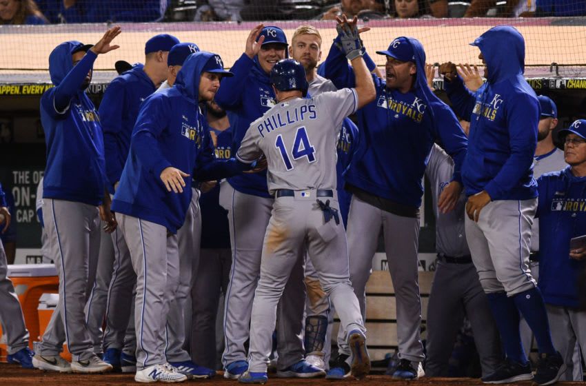 OAKLAND, CA - SEPTEMBER 16: Kansas City Royals center fielder Brett Phillips (14) celebrates with teammates after hitting a game-tying solo home run in the ninth inning of the Major League Baseball game between the Kansas City Royals and the Oakland Athletics at RingCentral Coliseum on September 16, 2019 in Oakland, CA. (Photo by Cody Glenn/Icon Sportswire via Getty Images)