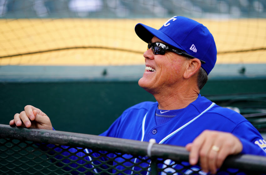 OAKLAND, CALIFORNIA - SEPTEMBER 18: Manager Ned Yost #3 of the Kansas City Royals speaks with fans prior to the game against the Oakland Athletics at Ring Central Coliseum on September 18, 2019 in Oakland, California. (Photo by Daniel Shirey/Getty Images)