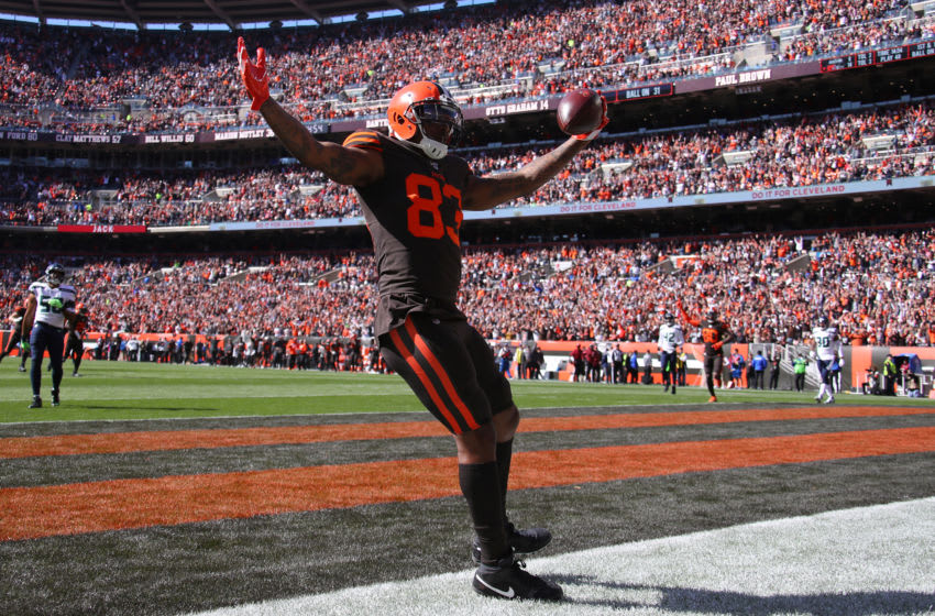 CLEVELAND, OHIO - OCTOBER 13: Ricky Seals-Jones #83 of the Cleveland Browns celebrates his second quarter touchdown against the Seattle Seahawks at FirstEnergy Stadium on October 13, 2019 in Cleveland, Ohio. (Photo by Gregory Shamus/Getty Images)