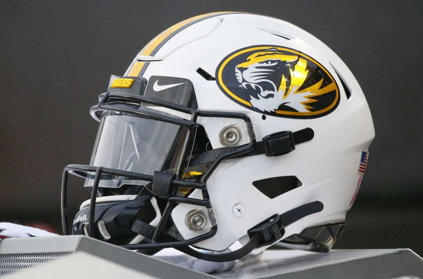 NASHVILLE, TENNESSEE - OCTOBER 19: A helmet of the Missouri Tigers rests on the sideline during a game against the Vanderbilt Commodores at Vanderbilt Stadium on October 19, 2019 in Nashville, Tennessee. (Photo by Frederick Breedon/Getty Images)