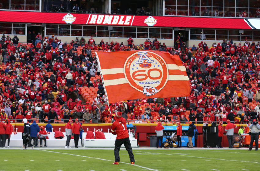 KANSAS CITY, MO - DECEMBER 01: A special flag celebrating 60 years of Kansas City Chiefs football flies before an AFC West game between the Oakland Raiders and Kansas City Chiefs on December 1, 2019 at Arrowhead Stadium in Kansas City, MO. (Photo by Scott Winters/Icon Sportswire via Getty Images)