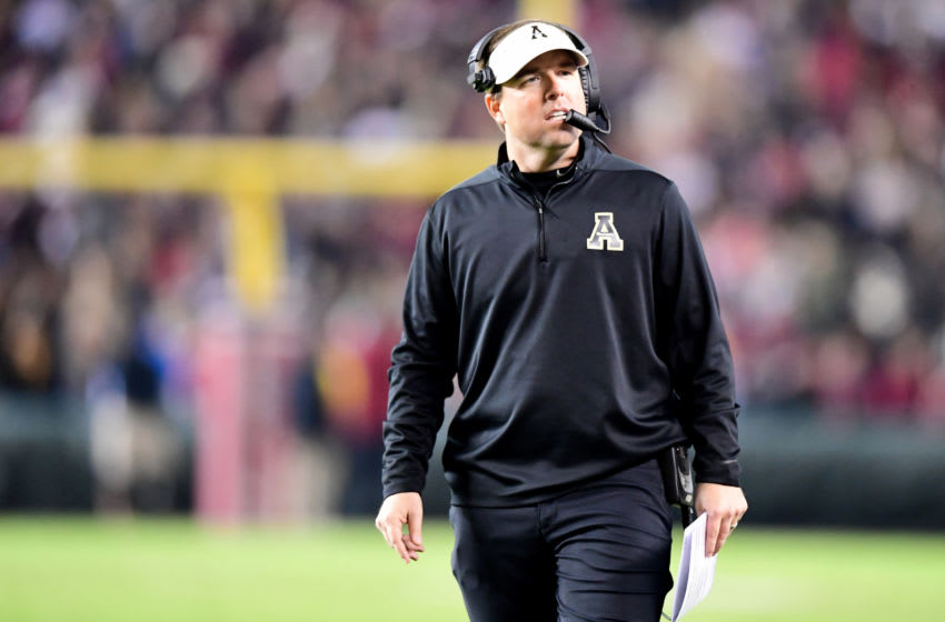 COLUMBIA, SOUTH CAROLINA - NOVEMBER 09: Head coach Eliah Drinkwitz of the Appalachian State Mountaineers in the first half during their game against the South Carolina Gamecocks at Williams-Brice Stadium on November 09, 2019 in Columbia, South Carolina. (Photo by Jacob Kupferman/Getty Images)