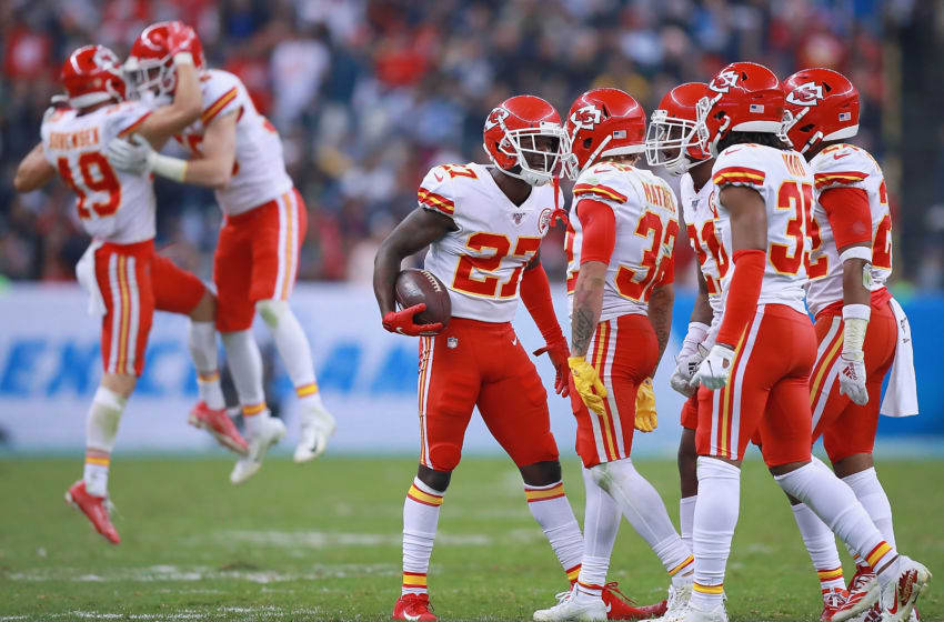 MEXICO CITY, MEXICO - NOVEMBER 18: Defensive back Rashad Fenton #27 of the Kansas City Chiefs and teammates celebrate an interception in the fourth quarter over the Los Angeles Chargers at Estadio Azteca on November 18, 2019 in Mexico City, Mexico. (Photo by Manuel Velasquez/Getty Images)