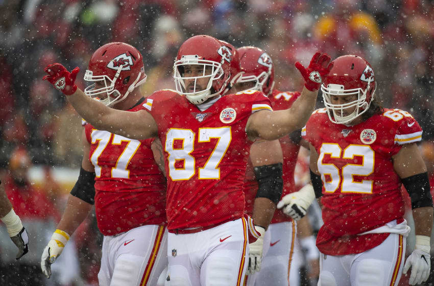 Kansas City Chiefs tight end Travis Kelce raises his arms to get Kansas City Chiefs fans fired up in the first quarter against the Denver Broncos Sunday, Dec. 15, 2019 at Arrowhead Stadium in Kansas City, Mo. (Chris Ochsner/Kansas City Star/Tribune News Service via Getty Images)