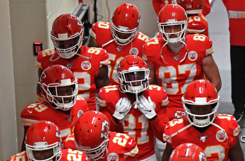 KANSAS CITY, MO - DECEMBER 01: Players of the Kansas City Chiefs walk through the tunnel prior to a game against the Oakland Raiders at Arrowhead Stadium on December 1, 2019 in Kansas City, Missouri. (Photo by Peter G. Aiken/Getty Images)