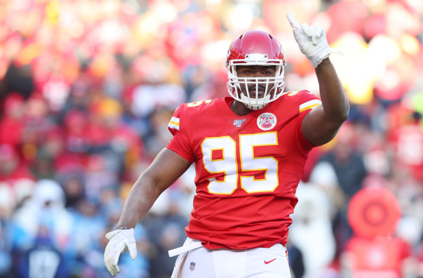 KANSAS CITY, MISSOURI - JANUARY 19: Chris Jones #95 of the Kansas City Chiefs reacts after a play in the first half against the Tennessee Titans in the AFC Championship Game at Arrowhead Stadium on January 19, 2020 in Kansas City, Missouri. (Photo by Tom Pennington/Getty Images)