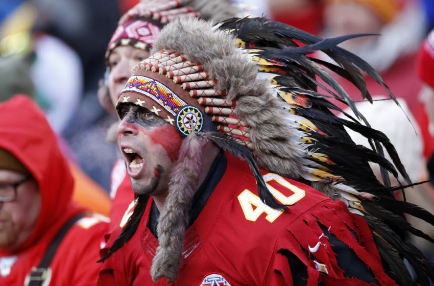 KANSAS CITY, MO - JANUARY 19: Kansas City Chiefs fan yells during the AFC Championship game against the Tennessee Titans at Arrowhead Stadium on January 19, 2020 in Kansas City, Missouri. The Chiefs defeated the Titans 35-24. (Photo by Joe Robbins/Getty Images)