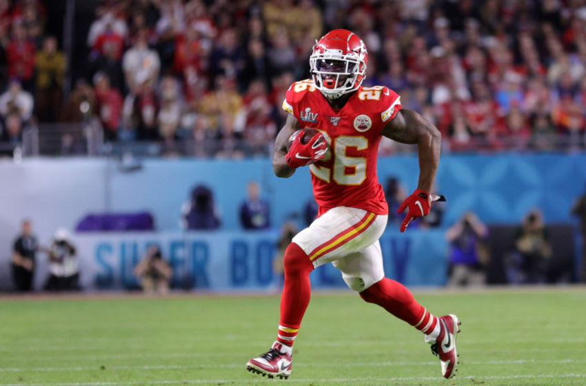MIAMI, FLORIDA - FEBRUARY 02: Damien Williams #26 of the Kansas City Chiefs runs with the ball against the San Francisco 49ers during the second quarter in Super Bowl LIV at Hard Rock Stadium on February 02, 2020 in Miami, Florida. (Photo by Maddie Meyer/Getty Images)