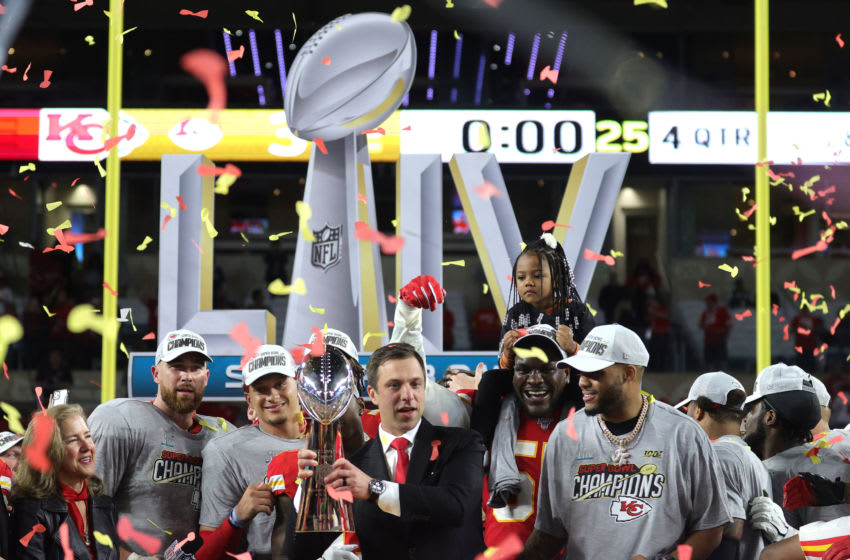 MIAMI, FLORIDA - FEBRUARY 02: General manger Brett Veach of the Kansas City Chiefs celebrates with the Vince Lombardi Trophy after defeating the San Francisco 49ers 31-20 in Super Bowl LIV at Hard Rock Stadium on February 02, 2020 in Miami, Florida. (Photo by Jamie Squire/Getty Images)