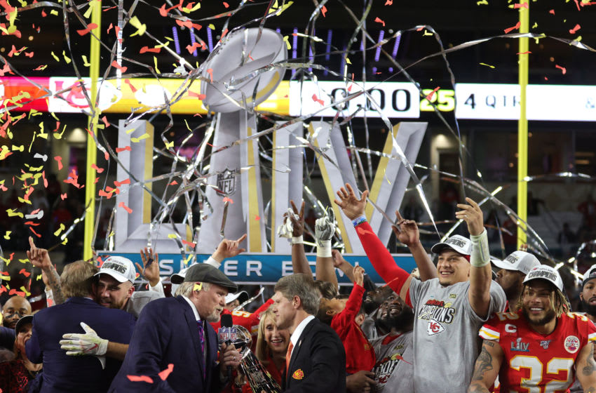 MIAMI, FLORIDA - FEBRUARY 02: President Mark Donovan of the Kansas City Chiefs receives the Vince Lombardi Trophy after defeating the San Francisco 49ers 31-20 in Super Bowl LIV at Hard Rock Stadium on February 02, 2020 in Miami, Florida. (Photo by Jamie Squire/Getty Images)