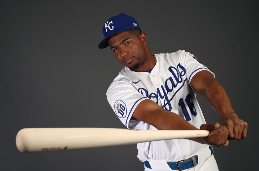 SURPRISE, ARIZONA - FEBRUARY 20: Kelvin Gutierrez #16 of the Kansas City Royals poses during Kansas City Royals Photo Day on February 20, 2020 in Surprise, Arizona. (Photo by Jamie Squire/Getty Images)