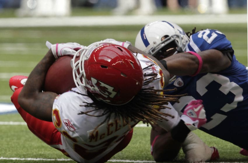 INDIANAPOLIS, IN - OCTOBER 9: Dexter McCluster #22, of the Kansas City Chiefs tackled by Terrence Johnson #23 of the Indianapolis Colts during the first half of play at Lucas Oil Field on October 9, 2011 in Indianapolis, Indiana. The Chiefs won 28-24. (Photo by John Sommers II/Getty Images)