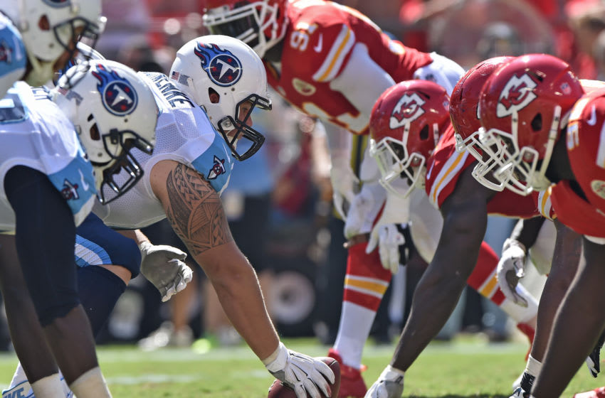 KANSAS CITY, MO - SEPTEMBER 07: Center Brian Schwenke #62 of the Tennessee Titans gets set to snap the ball against the Kansas City Chiefs during the second half on September 7, 2014 at Arrowhead Stadium in Kansas City, Missouri. (Photo by Peter G. Aiken/Getty Images)