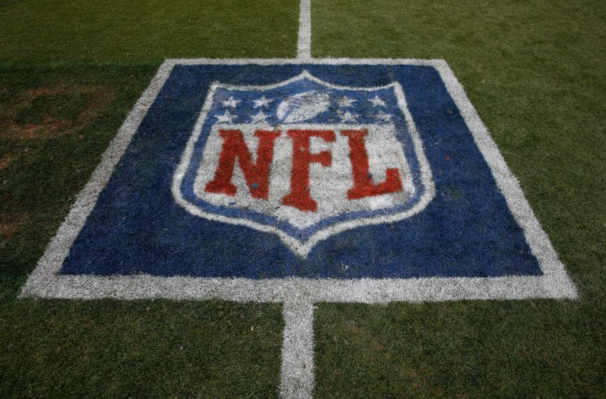 DENVER, CO - SEPTEMBER 14: The NFL logo is displayed on the turf as the Denver Broncos defeated the Kansas City Chiefs 24-17 at Sports Authority Field at Mile High on September 14, 2014 in Denver, Colorado. (Photo by Doug Pensinger/Getty Images)