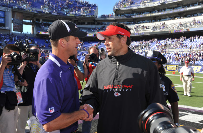 BALTIMORE - SEPTEMBER 13: Head coach John Harbaugh of the Baltimore Ravens shakes hands with head coach Todd Haley of the Kansas City Chiefs after the game at M&T Bank Stadium on September 13, 2009 in Baltimore, Maryland. The Ravens defeated the Chiefs 38-24. (Photo by Larry French/Getty Images)