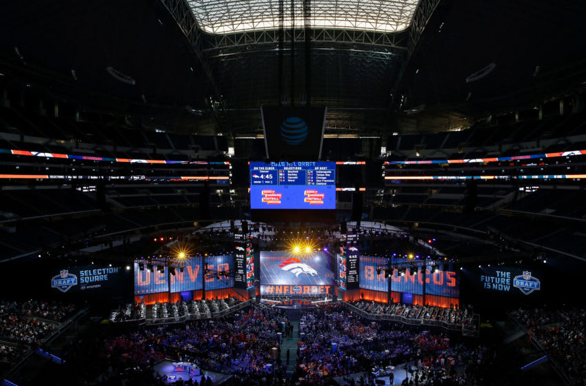 ARLINGTON, TX - APRIL 26: The Denver Broncos logo is seen on a video board during the first round of the 2018 NFL Draft at AT&T Stadium on April 26, 2018 in Arlington, Texas. (Photo by Tim Warner/Getty Images)