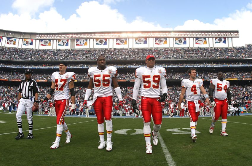 SAN DIEGO, CA - NOVEMBER 9: The team captains of the Kansas CIty Chiefs take the field for the coin toss before a game against the San Diego Chargers at Qualcomm Stadium on November 9, 2008 in San Diego, CA. The Chargers defeated the Chiefs 20-19. (Photo by Tim Umphrey/Getty Images)