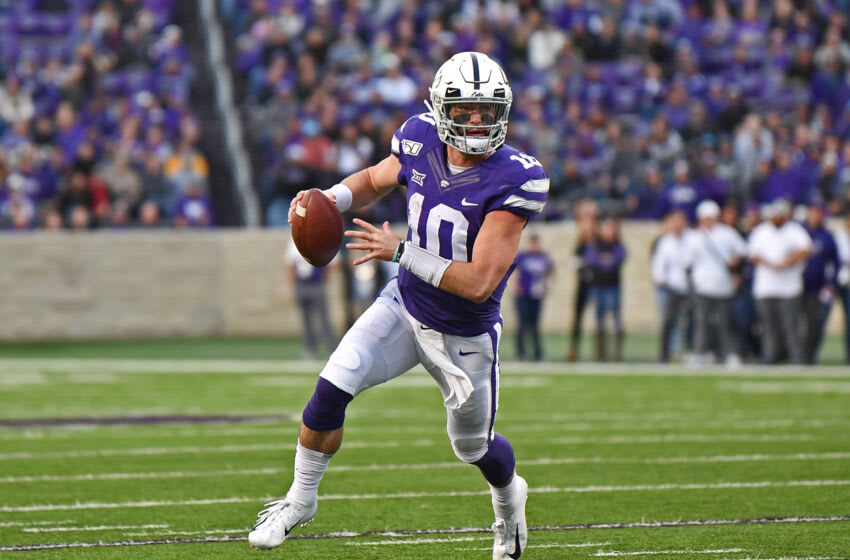 MANHATTAN, KS - NOVEMBER 16: Quarterback Skylar Thompson #10 of the Kansas State Wildcats scrambles to the outside against the West Virginia Mountaineers during the second half at Bill Snyder Family Football Stadium on November 16, 2019 in Manhattan, Kansas. (Photo by Peter G. Aiken/Getty Images)