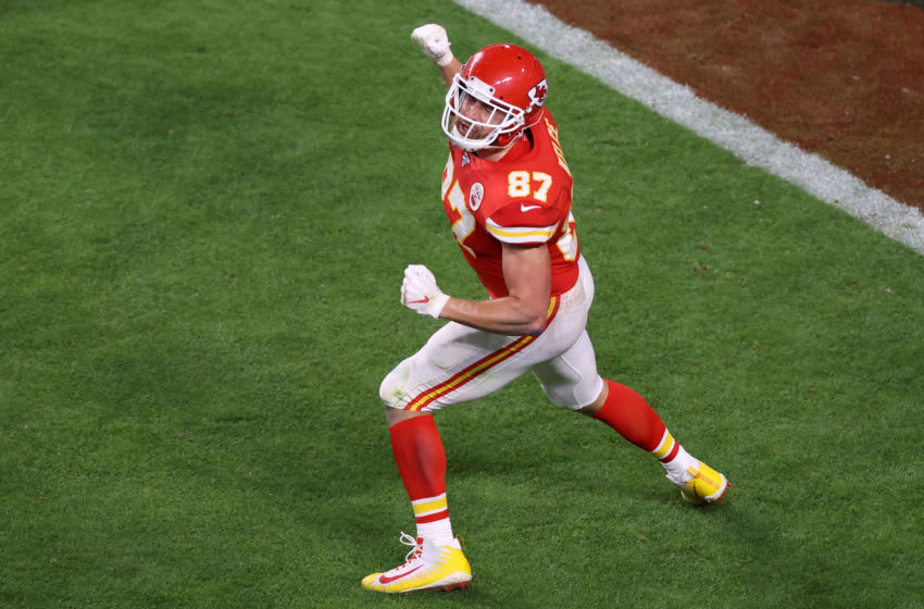 MIAMI, FLORIDA - FEBRUARY 02: Travis Kelce #87 of the Kansas City Chiefs celebrates after scoring a touchdown against the San Francisco 49ers during the fourth quarter in Super Bowl LIV at Hard Rock Stadium on February 02, 2020 in Miami, Florida. (Photo by Elsa/Getty Images)