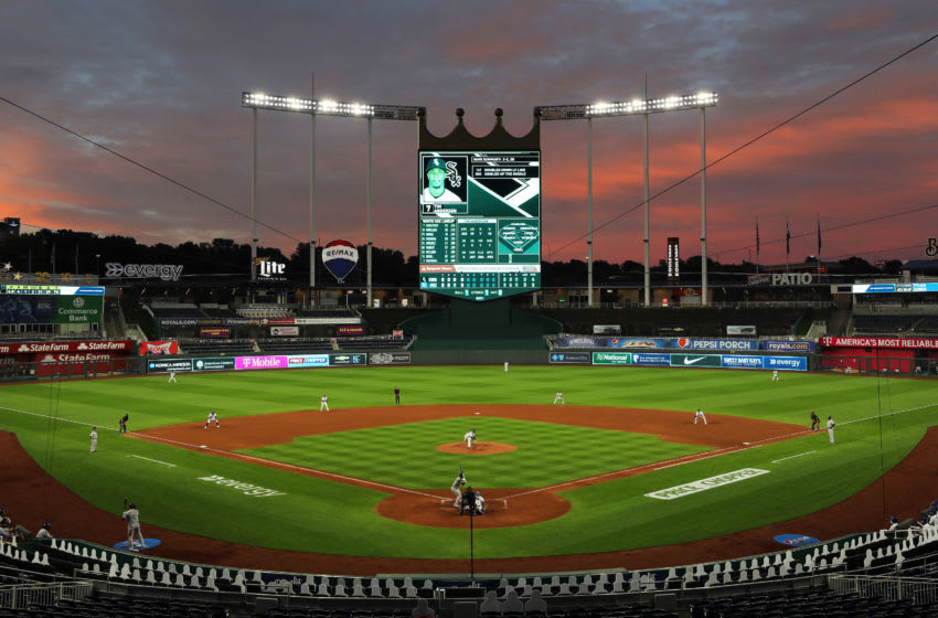 KANSAS CITY, MISSOURI - JULY 31: A general view as the sun sets during the Opening Day game between the Chicago White Sox and the Kansas City Royals at Kauffman Stadium on July 31, 2020 in Kansas City, Missouri. (Photo by Jamie Squire/Getty Images)