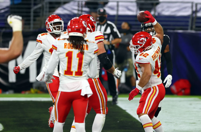 BALTIMORE, MARYLAND - SEPTEMBER 28: Anthony Sherman #42 of the Kansas City Chiefs spikes the ball after scoring a touchdown against the Baltimore Ravens during the second quarter at M&T Bank Stadium on September 28, 2020 in Baltimore, Maryland. (Photo by Todd Olszewski/Getty Images)