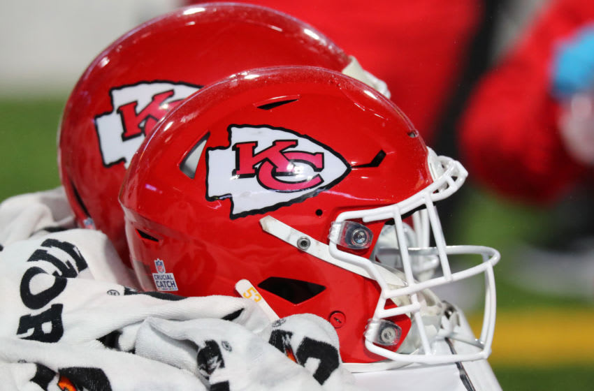 ORCHARD PARK, NY - OCTOBER 19: A general view of the helmets worn by Kansas City Chiefs players against the Buffalo Bills at Bills Stadium on October 19, 2020 in Orchard Park, New York. Kansas City beats Buffalo 26 to 17. (Photo by Timothy T Ludwig/Getty Images)