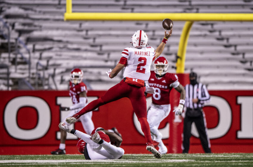 PISCATAWAY, NJ - DECEMBER 18: Adrian Martinez #2 of the Nebraska Cornhuskers throws the ball down field during a regular season game against the Rutgers Scarlet Knights at SHI Stadium on December 18, 2020 in Piscataway, New Jersey. (Photo by Benjamin Solomon/Getty Images)
