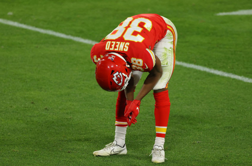 TAMPA, FLORIDA - FEBRUARY 07: L'Jarius Sneed #38 of the Kansas City Chiefs reacts during the second quarter of the game against the Tampa Bay Buccaneers in Super Bowl LV at Raymond James Stadium on February 07, 2021 in Tampa, Florida. (Photo by Kevin C. Cox/Getty Images)