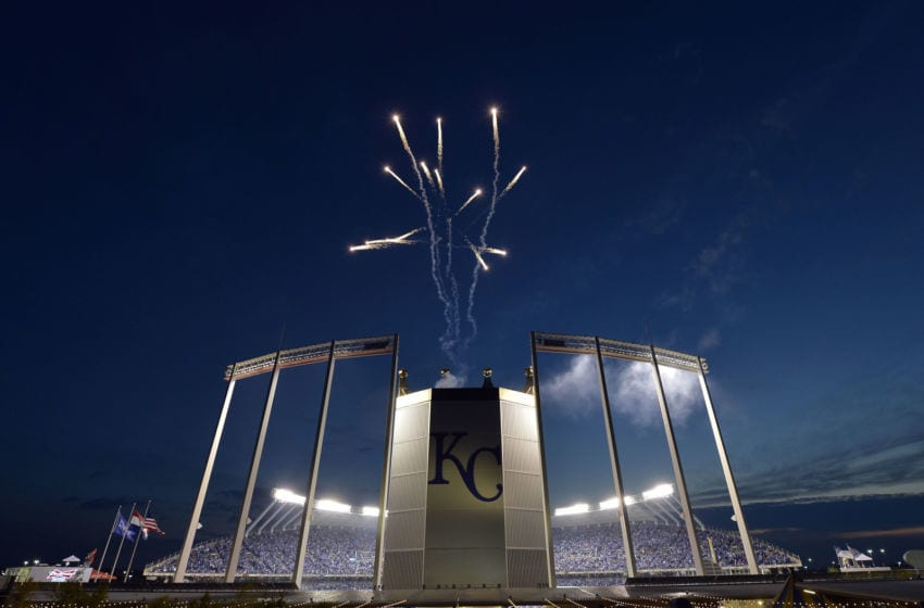 Fireworks open the show as the Kansas City Royals welcome the San Francisco Giants for Game 2 of the World Series at Kauffman Stadium in Kansas City, Mo., on Wednesday, Oct. 22, 2014. (Keith Myers/Kansas City Star/MCT via Getty Images)