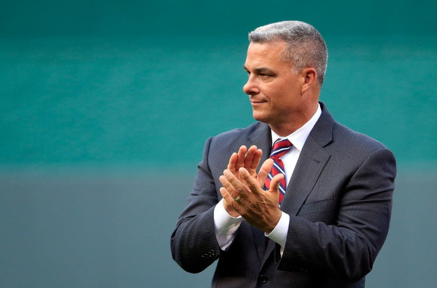 KANSAS CITY, MO - APRIL 17: Kansas City Royals General Manager Dayton Moore watches pregame activities prior to the game against the Oakland Athletics at Kauffman Stadium on April 17, 2015 in Kansas City, Missouri. (Photo by Jamie Squire/Getty Images)