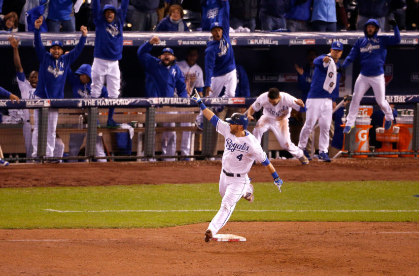KANSAS CITY, MO - OCTOBER 27: Alex Gordon #4 of the Kansas City Royals reacts as he runs the bases after hitting a solo home run in the ninth inning to tie the game against the New York Mets during Game One of the 2015 World Series at Kauffman Stadium on October 27, 2015 in Kansas City, Missouri. (Photo by Christian Petersen/Getty Images)