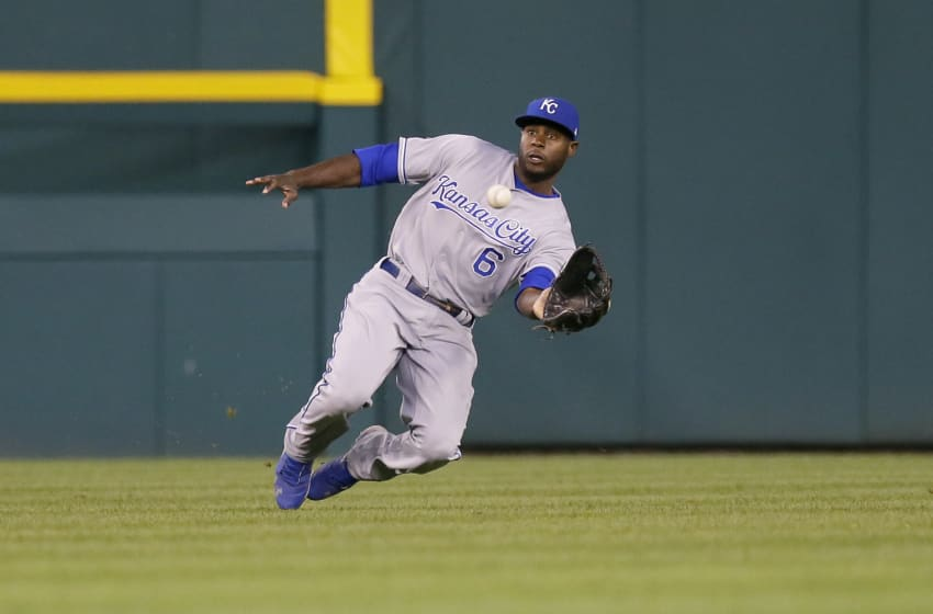 DETROIT, MI - JUNE 27: Center fielder Lorenzo Cain #6 of the Kansas City Royals catches a fly ball hit by Mikie Mahtook #15 of the Detroit Tigers for the third out of the sixth inning at Comerica Park on June 27, 2017 in Detroit, Michigan. (Photo by Duane Burleson/Getty Images)