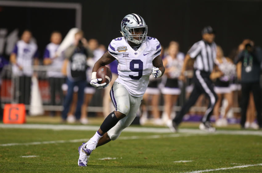 PHOENIX, AZ - DECEMBER 26: Byron Pringle (9) of the Kansas State Wildcats during the Cactus Bowl game between the Kansas State Wildcats and the UCLA Bruins on December 26, 2017 at Chase Field in Phoenix, AZ. (Photo by Jordon Kelly/Icon Sportswire via Getty Images)