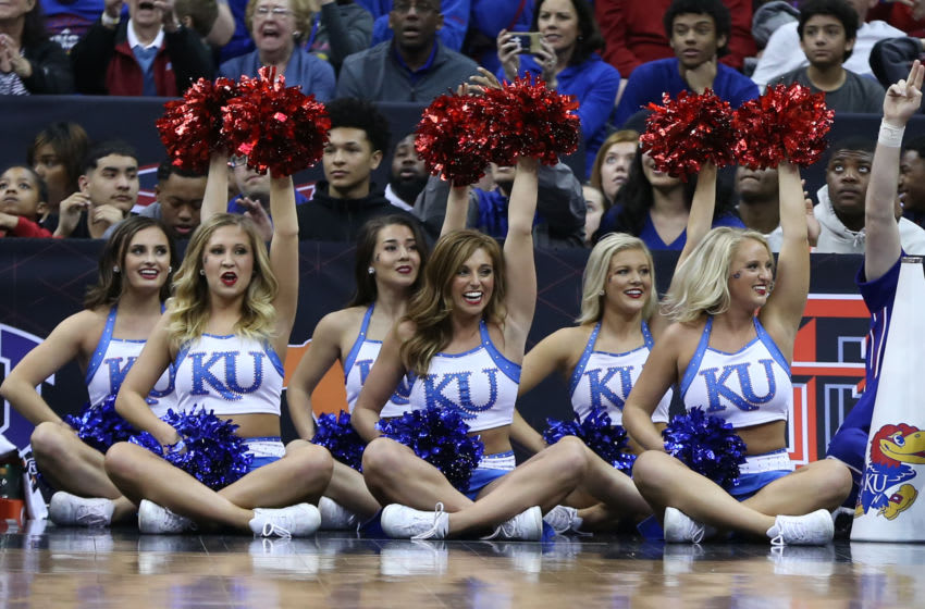 KANSAS CITY, MO - MARCH 10: Kansas Jayhawks cheerleaders in the second half of the championship game of the Big 12 Basketball Championship between the West Virginia Mountaineers and Kansas Jayhawks on March 10, 2018 at Sprint Center in Kansas City, MO. Kansas won 81-70. (Photo by Scott Winters/Icon Sportswire via Getty Images)