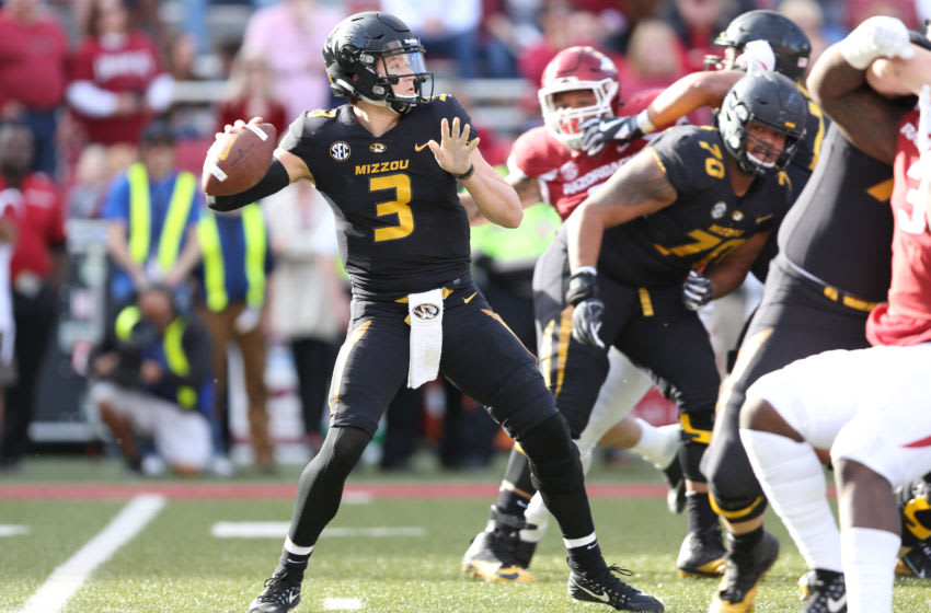 FAYETTEVILLE, AR - NOVEMBER 24: Missouri (3) Drew Lock (QB) looks to pass in the game between the Missouri Tigers and the Arkansas Razorbacks on November 24th, 2017 at Donald W. Reynolds Razorback Stadium in Fayetteville, AR. (Photo by John Bunch/Icon Sportswire via Getty Images)