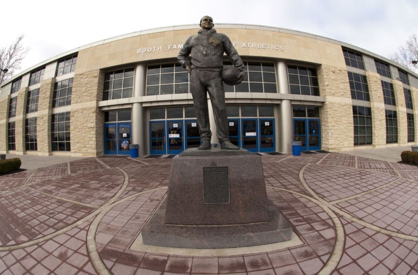 LAWRENCE, KS - FEBRUARY 02: A view of the Forrest Clare 'Phog' Allen statue outside Allen Fieldhouse prior to a game between the Oklahoma State Cowboys and the Kansas Jayhawks on February 2, 2013 in Lawrence, Kansas. The Cowboys defeated the Jayhawks 85-80. (Photo by Denny Medley/Replay Photos via Getty Images)