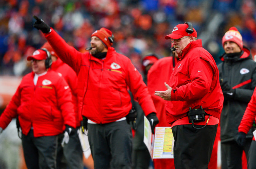 DENVER, CO - DECEMBER 31: Head coach Andy Reid of the Kansas City Chiefs smiles after the Kansas City Chiefs offense scored a touchdown against the Denver Broncosat Sports Authority Field at Mile High on December 31, 2017 in Denver, Colorado. (Photo by Dustin Bradford/Getty Images)