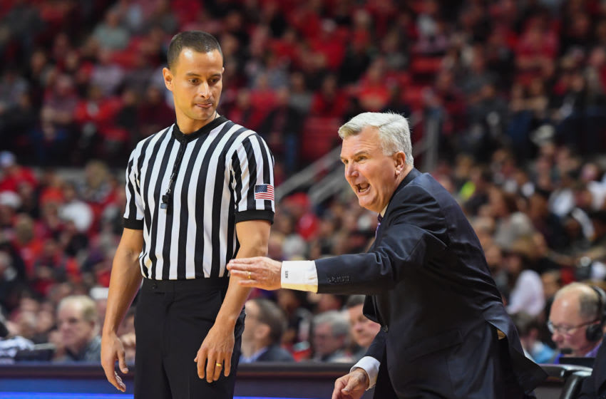 LUBBOCK, TX - JANUARY 6: Head coach Bruce Weber of the Kansas State Wildcats argues an officials calls during the game against the Texas Tech Red Raiders on January 6, 2018 at United Supermarket Arena in Lubbock, Texas. Texas Tech won the game 74-58. (Photo by John Weast/Getty Images)