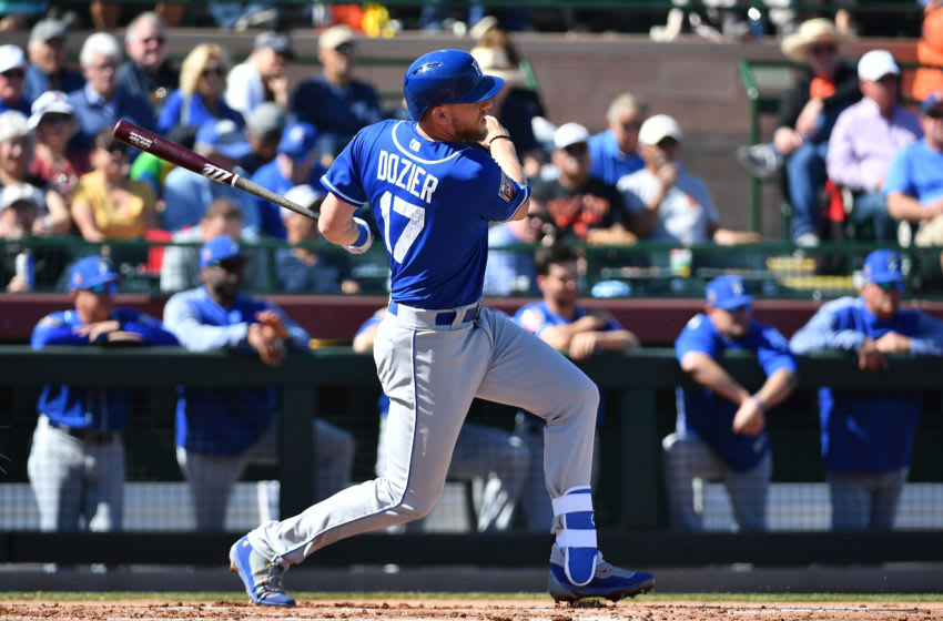 SCOTTSDALE, AZ - FEBRUARY 26: Hunter Dozier #17 of the Kansas City Royals grounds out to first base in the spring training game against the San Francisco Giants at Scottsdale Stadium on February 26, 2018 in Scottsdale, Arizona. (Photo by Jennifer Stewart/Getty Images)