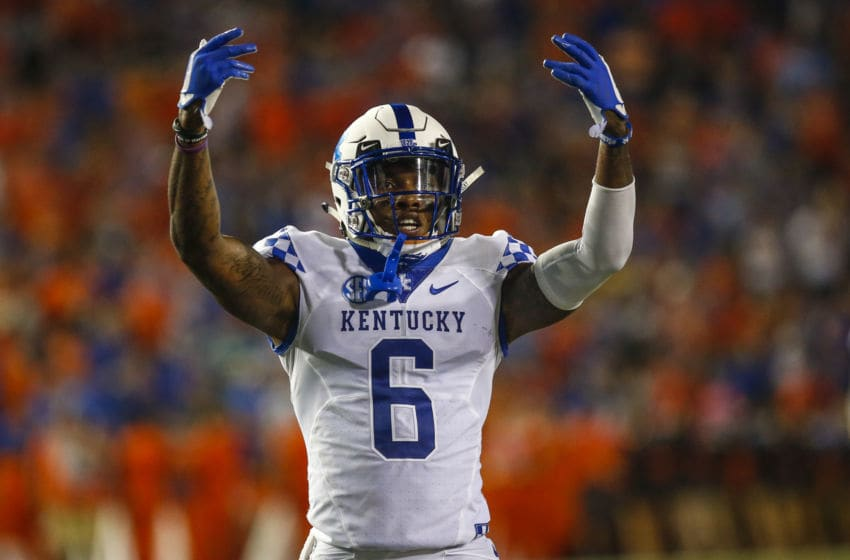 GAINESVILLE, FL - SEPTEMBER 08: Kentucky Wildcats cornerback Lonnie Johnson Jr. (6) celebrates during the game between the Kentucky Wildcats and the Florida Gators on September 8, 2018, at Ben Hill Griffin Stadium at Florida Field in Gainesville, Fl. (Photo by David Rosenblum/Icon Sportswire via Getty Images)