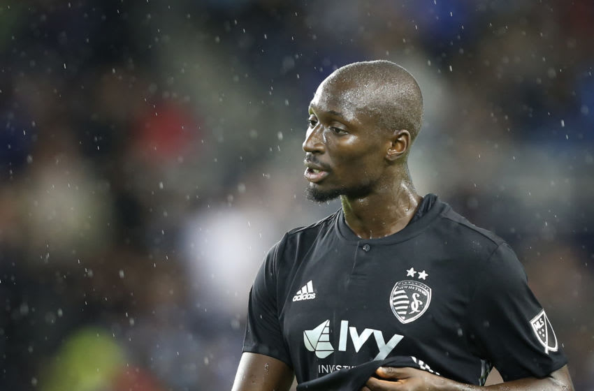 KANSAS CITY, KS - OCTOBER 06: Sporting Kansas City defender Ike Opara (3) in the rain in the first half of an MLS match between the LA Galaxy and Sporting Kansas City on October 6, 2018 at Chldren's Mercy Park in Kansas City, KS. (Photo by Scott Winters/Icon Sportswire via Getty Images)